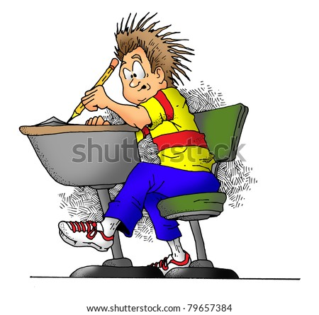 Cartoon image of a boy in school taking a test.
