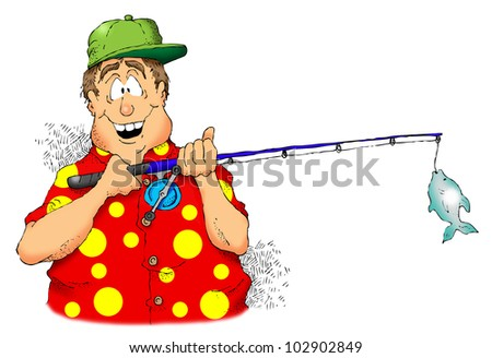 Cartoon image of a man holding a rod and reel with a small fish. - stock photo