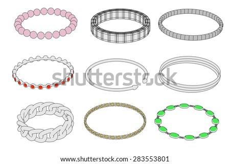 cartoon image of bracelets (jewels) - stock photo