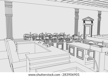 cartoon image of court room - stock photo