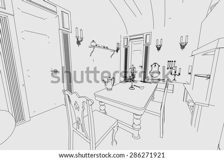 cartoon image of manor interior - stock photo