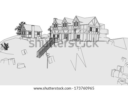 cartoon image of medieval village