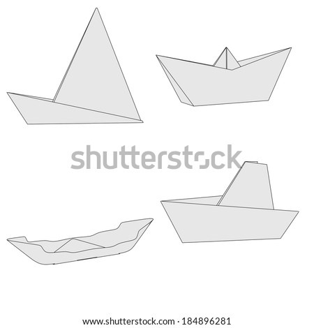 cartoon image of origami ships