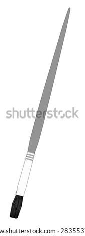 cartoon image of paint brush - stock photo