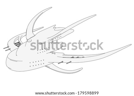 cartoon image of space ship