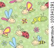 cartoon insects seamless pattern - stock vector