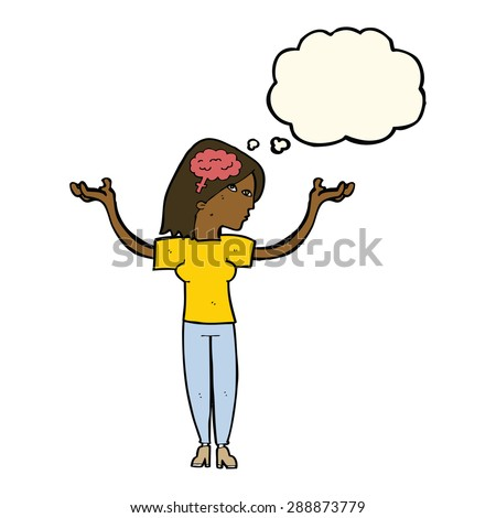 cartoon intelligent woman with thought bubble - stock photo