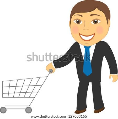 cartoon isolated man with shopping cart - stock photo