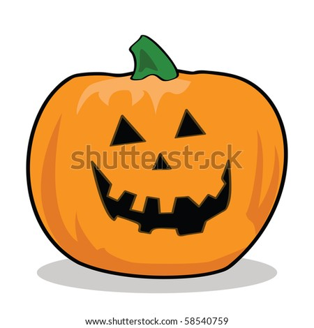 Cartoon jpeg illustration of a carved pumpkin for Halloween - stock photo