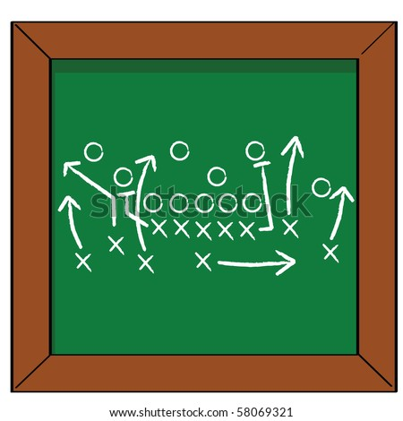 Cartoon jpeg illustration of a football game plan on a blackboard