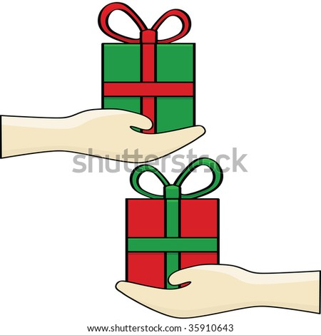Christmas gift exchange stock images royalty free images cartoon jpeg illustration of a gift exchange negle Choice Image