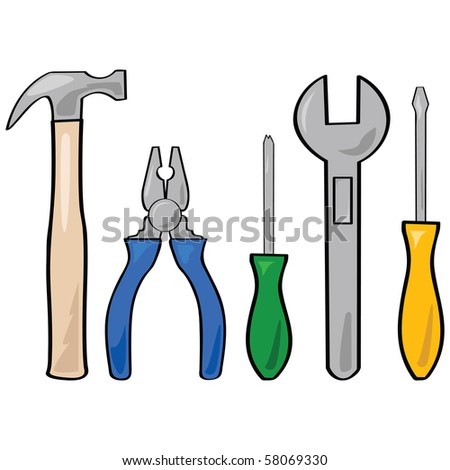 Cartoon jpeg illustration of a set of different household tools