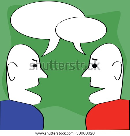 Cartoon jpeg illustration of two man talking, with cartoon dialogue balloons on top