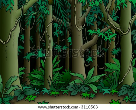 Cartoon Jungle Background - stock photo