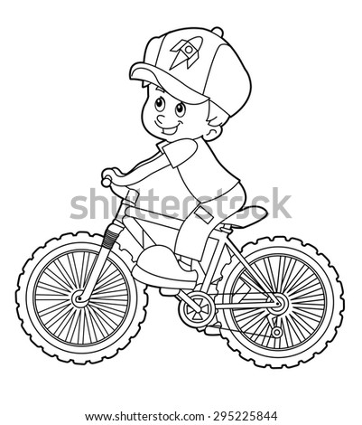Cartoon Kid Riding Bicycle