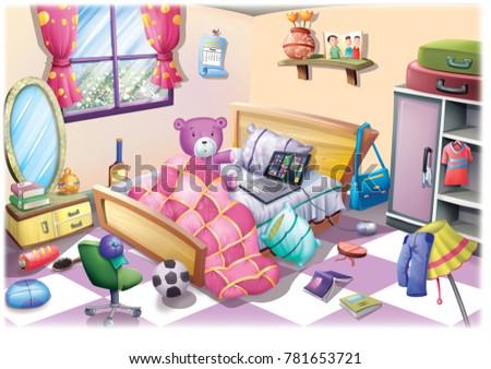Cartoon Kids Bedroom Illustration Stock Illustration 781653721 ...