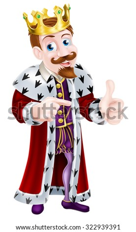 Cartoon king character wearing a crown giving a thumbs up with one hand and pointing with the other - stock photo
