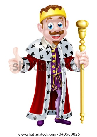 Cartoon king wearing a gold crown, holding a sceptre and doing a thumbs up - stock photo
