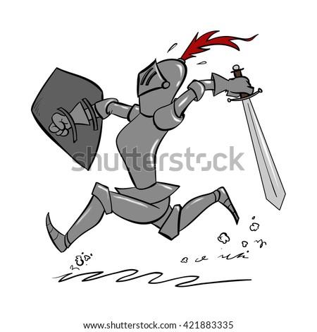 Cartoon Knight  - stock photo