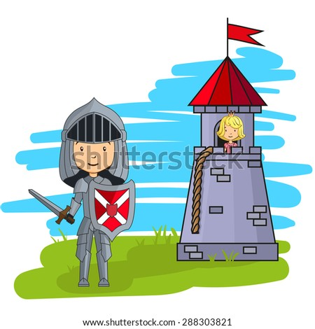 Cartoon knight going to rescue princess from the tower - stock photo
