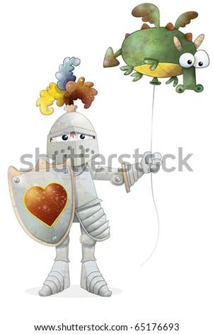 Cartoon knight holding a shield and a balloon dragon - stock photo