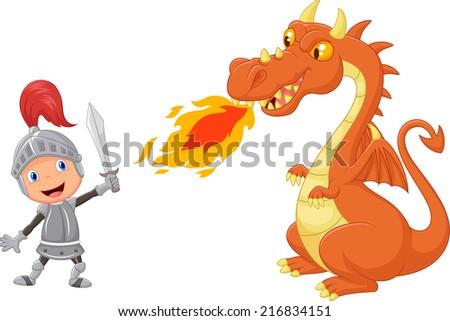 Cartoon knight with fierce dragon - stock photo