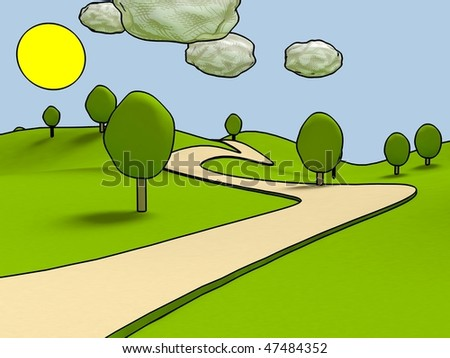 Cartoon landscape. - stock photo