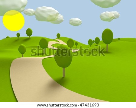 Cartoon landscape. 3D visualization - stock photo