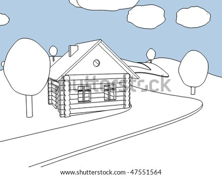 Cartoon landscape. Village. Outline. - stock photo
