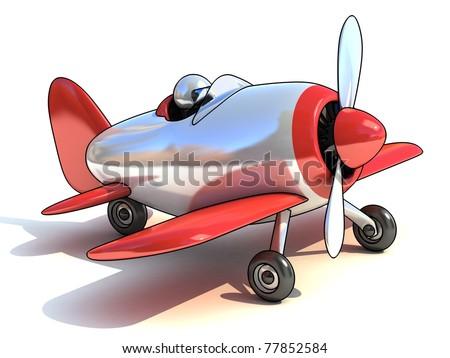 cartoon like airplane 3d illustration isolated on white background - stock photo