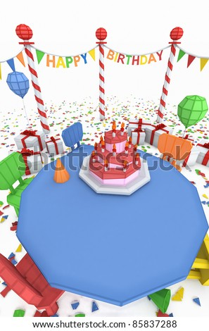 cartoon like birthday party illustration with copy space for text, ideal for greeting cards or invitations