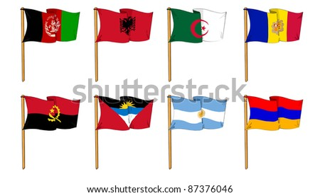 cartoon-like dawings of some of the most popular flags in the world: Letter A