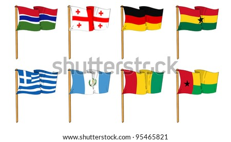 cartoon-like dawings of some of the most popular flags in the world: letter G