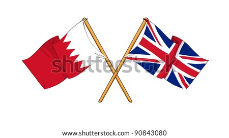 cartoon-like drawings of flags showing friendship between Bahrain and United Kingdom - stock photo
