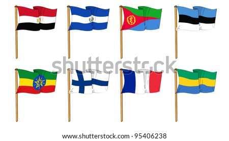cartoon-like drawings of some of the most popular flags in the world: letter E, F & G - stock photo