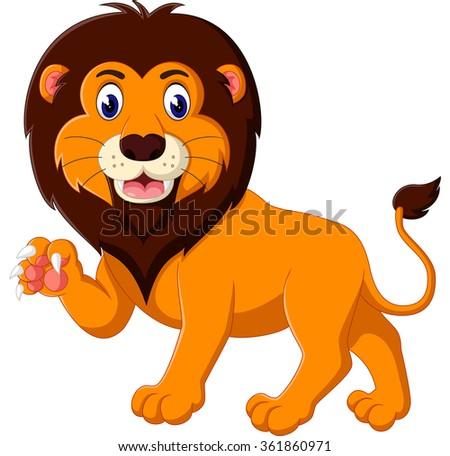 Cartoon lion roaring - stock photo
