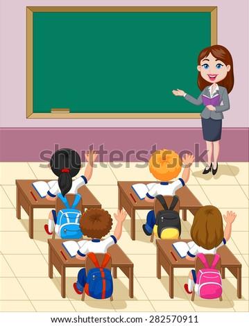 Cartoon little kids a study in the classroom - stock photo