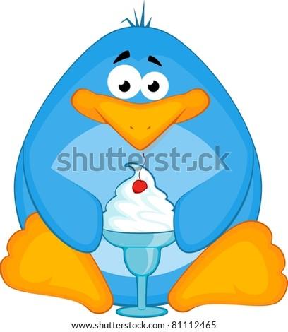cartoon little penguin with ice-cream - stock photo