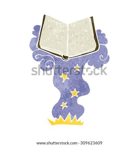 cartoon magic spell book - stock photo