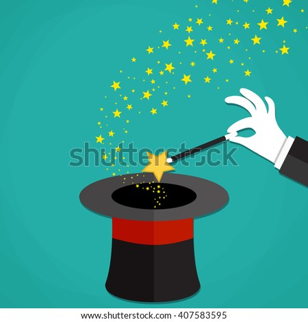Cartoon Magicians hands in white gloves holding a magic wand with stars sparks above black magic hat. illustration in flat design on green background Raster version - stock photo