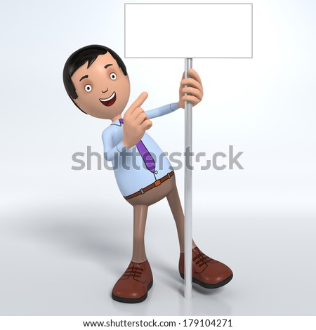 Cartoon male professional office worker in blue shirt and tie holding and pointing at placard or sign - stock photo