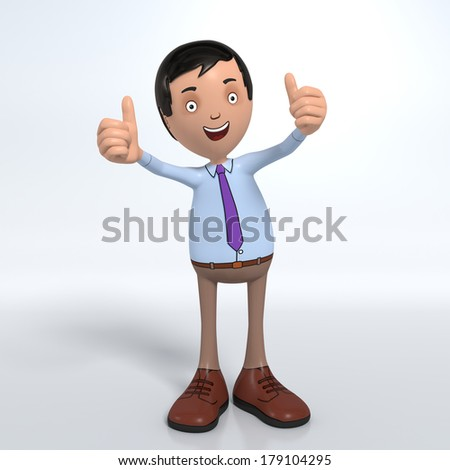 Cartoon male professional office worker in blue shirt and tie showing thumbs-up - stock photo