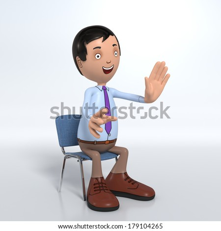 Cartoon male professional office worker in blue shirt and tie sitting down and talking - stock photo