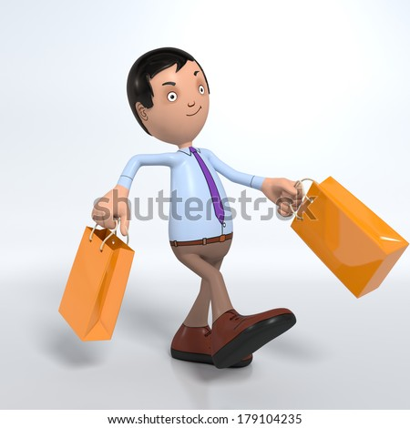 Cartoon male professional office worker in blue shirt and tie walking with shopping bags - stock photo