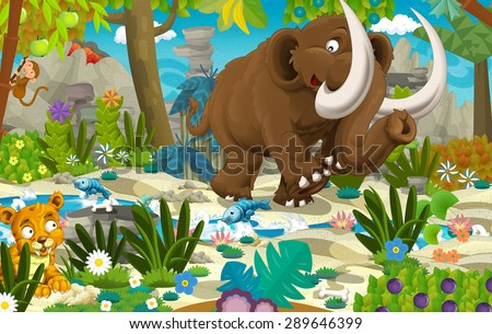 Cartoon mammoth - prehistoric scene - illustration for the children - stock photo