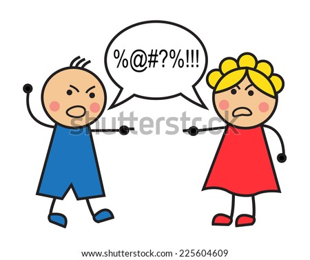 Cartoon man and woman arguing and cussing - stock photo