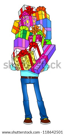 Cartoon man holding gifts - stock photo