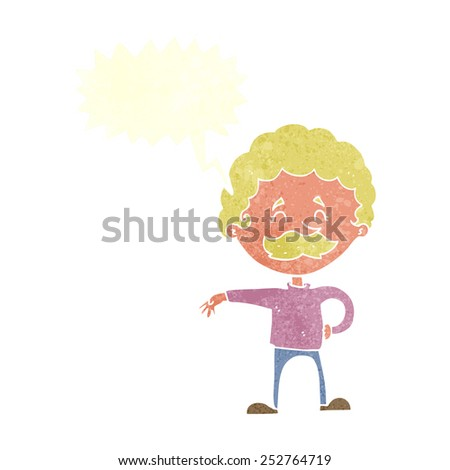 cartoon man making camp gesture with speech bubble - stock photo