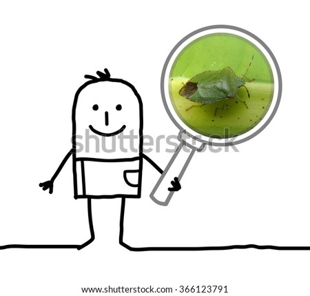 cartoon man observing a bug with a magnifying glass - stock photo