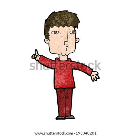 cartoon man raising point - stock photo